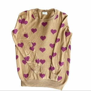 MADEWELL Wallace Heart Print Crewneck Sweater Sz S